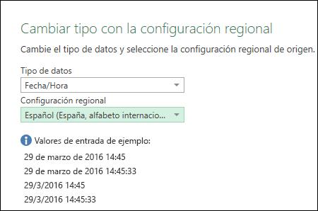 """Power Query: sugerencias para """"valores de entrada de ejemplo"""" en el cuadro de diálogo """"Cambiar tipo con la configuración regional"""""""