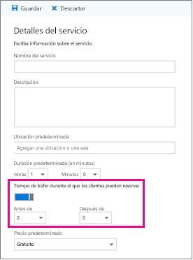 Opción de tiempo de búfer en la página de detalles del servicio