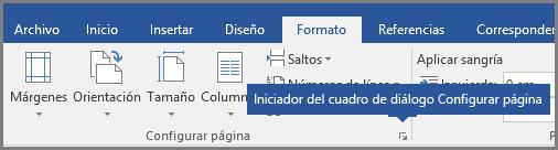 Iniciador del cuadro de diálogo Configurar página de Word.