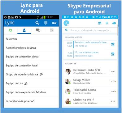 Capturas de pantalla en paralelo de Lync y Skype Empresarial