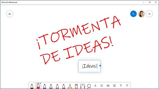 La aplicación Pizarra interactiva con anotaciones