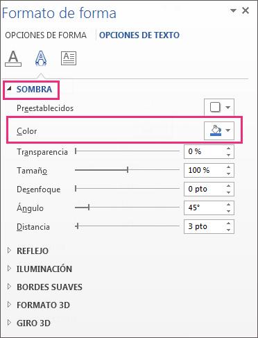 Panel Formato de forma donde se muestra la opción Sombra expandida y el botón Color