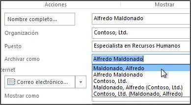 Haga clic en el cuadro que se encuentra a la derecha de Archivar como y seleccione el formato deseado.