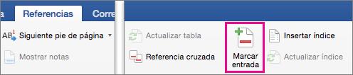 En la pestaña Referencias, la opción Marcar entrada está resaltada