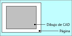 Dibujo de AutoCAD dentro de los bordes de la página