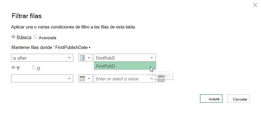 Cuadro de diálogo filtrar filas que muestra un parámetro seleccionado