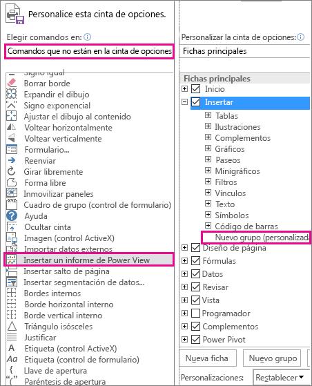 Cuadro Personalizar cinta de opciones en Excel