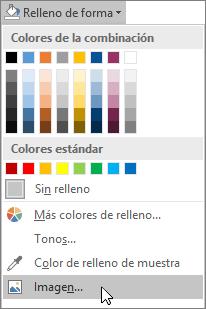 """Captura de pantalla de la opción """"Relleno de imagen"""" de """"Relleno de forma"""" en la pestaña Formato de Publisher."""