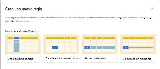Captura de pantalla de elegir una plantilla de regla para cuándo notificar a alguien