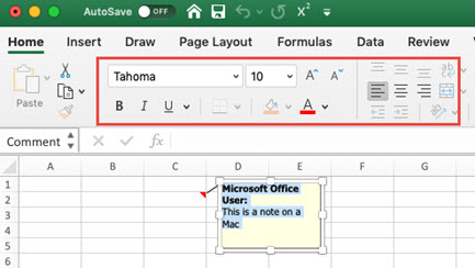 Imagen de una nota en un equipo Mac, que muestra la pestaña Inicio para dar formato al texto de la nota.