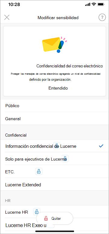 Captura de pantalla de las etiquetas de confidencialidad en Outlook para iOS