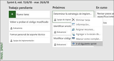 Panel de sprint y lista de comandos disponibles relacionadas con la tarea