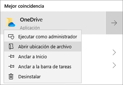 Una captura de pantalla que muestra el menú contextual en el menú Inicio, con Abrir ubicación de archivo seleccionado.