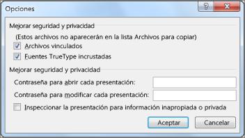 Cuadro de diálogo Opciones en Empaquetar para CD-ROM