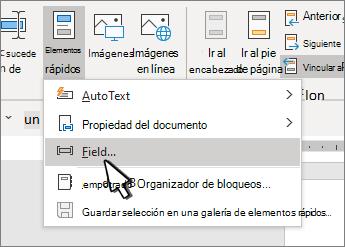 Menú QuickParts con campos resaltados
