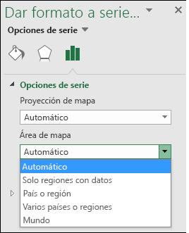 Opciones del área de mapa del gráfico de mapa de Excel