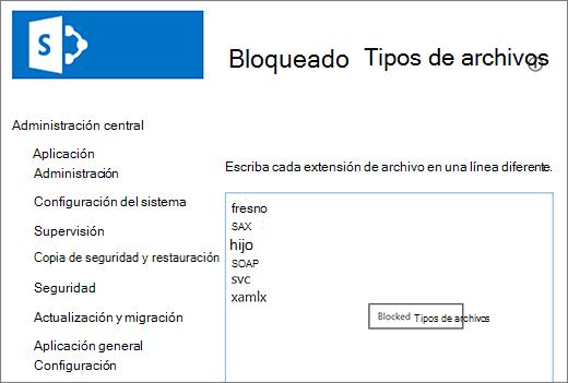 Lista de archivos bloqueados