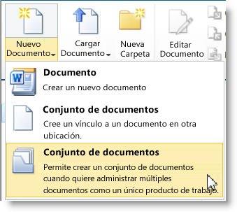 Comando Conjunto de documentos en el menú Nuevo documento
