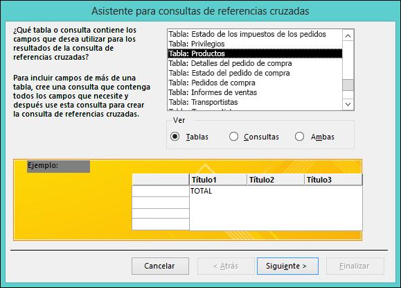 En el Asistente para consultas de referencias cruzadas, seleccione una tabla o una consulta.
