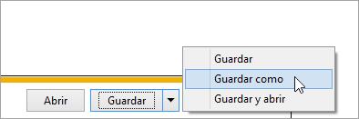 Captura de pantalla del botón Guardar como