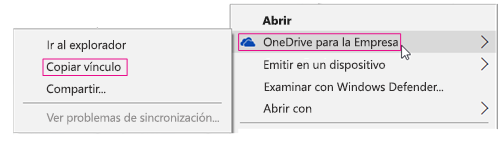 OneDrive para la Empresa, Copiar vínculo
