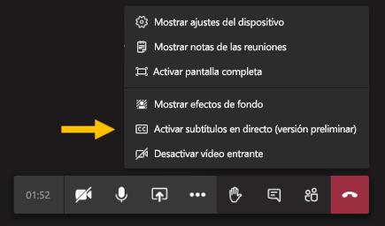 Activar la opción de menú de subtítulos en vivo