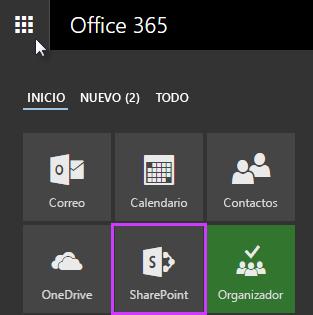 Captura de pantalla del iniciador de aplicaciones en SharePoint Server 2016