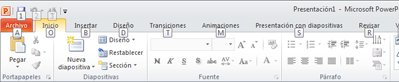 Teclas de métodos abreviados de teclado en la pestaña Archivo