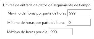 Límites de entrada de datos de seguimiento de tiempo