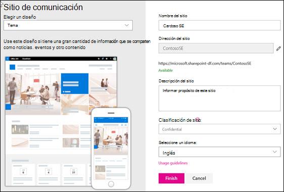 Crear un sitio de comunicación de SharePoint