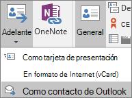 En Outlook, en la pestaña contacto, en el grupo acciones, elija Foward y, a continuación, elija una opción.