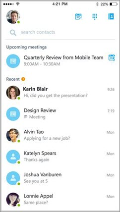 Pantalla de inicio de Skype Empresarial para iOS