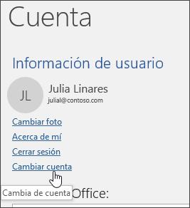Captura de pantalla que muestra cómo cambiar entre cuentas en Información de cuenta