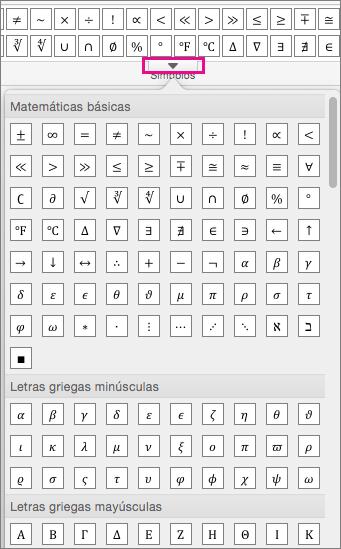 En la pestaña Ecuación se muestra una lista de todos los símbolos disponibles.