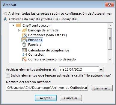 Cuadro de diálogo Archivar