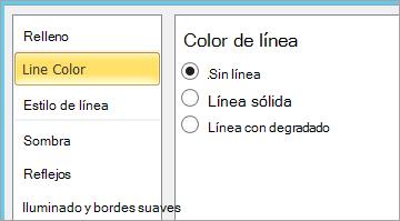 Selección de sin línea para el color de línea del cuadro de texto