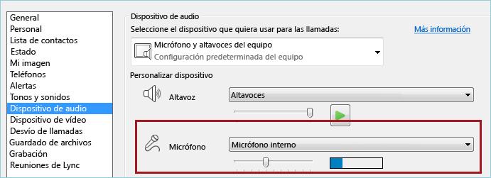 Captura de pantalla de verificación audio del micrófono