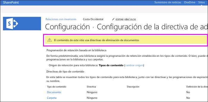 Advertencia de sitio que se usan las directivas de eliminación del documento