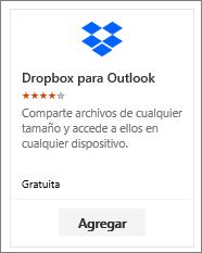 Captura de pantalla de la lista desplegable para el mosaico del complemento de Outlook disponible de forma gratuita.