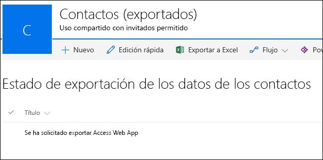 Lista de SharePoint con el registro titulado Solicitado para exportar la aplicación web de Access