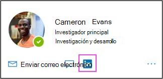 Icono de LinkedIn que se muestra en la tarjeta de perfil