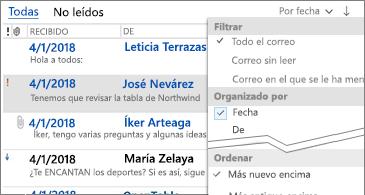 Lista de filtros disponibles para ordenar los mensajes