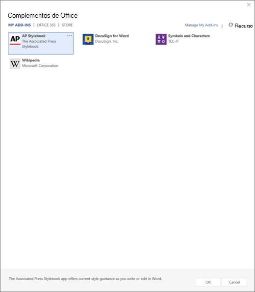 Captura de pantalla muestra la pestaña Mis complementos de la página de complementos de Office donde se muestran los complementos de usuario. Seleccione el complemento para iniciarlo. También están disponibles las opciones para administrar Mis complementos o actualización.