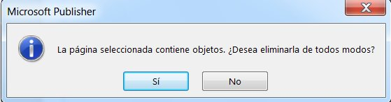 Recibirá esta advertencia si intenta eliminar una página con contenido.