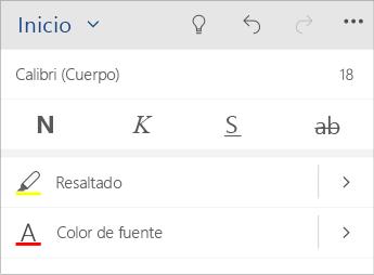 Captura de pantalla del menú Formato de texto en Word Mobile.