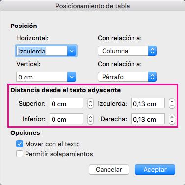 Establezca el espacio entre la tabla seleccionada y el texto del cuerpo en Distancia desde el texto adyacente.