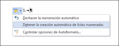 Las opciones de numeración se muestran en Autocorrección.