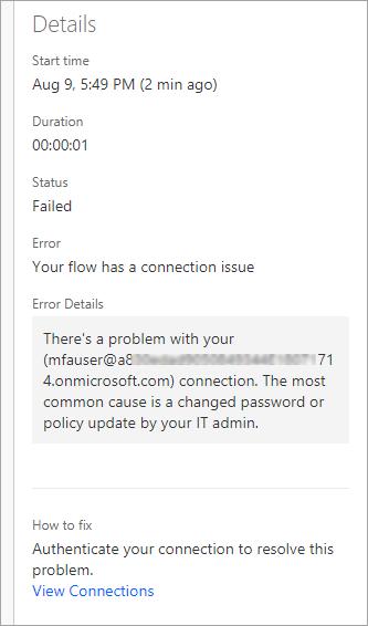 Detalles del mensaje de error, incluyendo el tiempo, estado, Error, detalles del Error y cómo corregir