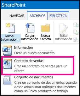 Menú Nuevo documento desplegado que muestra el tipo de contenido Contrato de ventas
