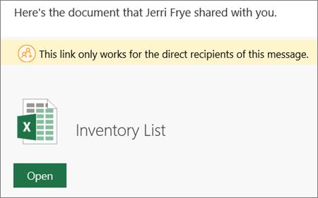 Ejemplo de correo electrónico de notiifcation de archivo compartido de SharePoint